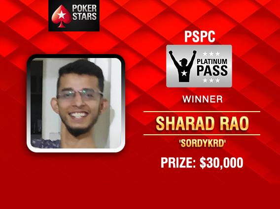 Sharad Rao wins prestigious PSPC Platinum Pass on PokerStars