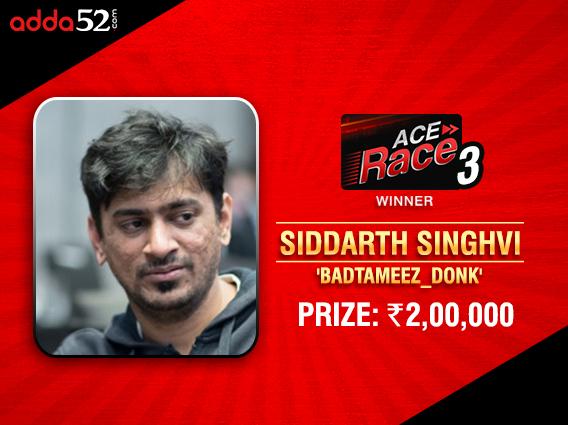 Siddarth Singhvi wins Adda52 Ace Race Leaderboard AGAIN