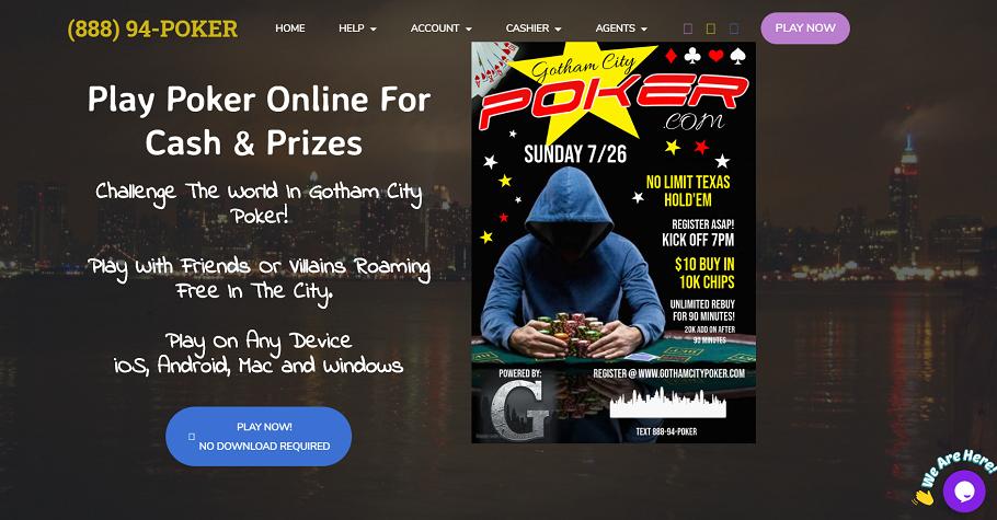 Claim $10 bonus on Gotham City Poker through GUTSHOT