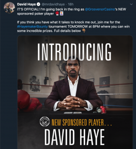 David hayes joins Team Grosvenor Poker