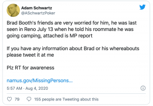 Former High-Stakes Pro Brad Booth Reported Missing
