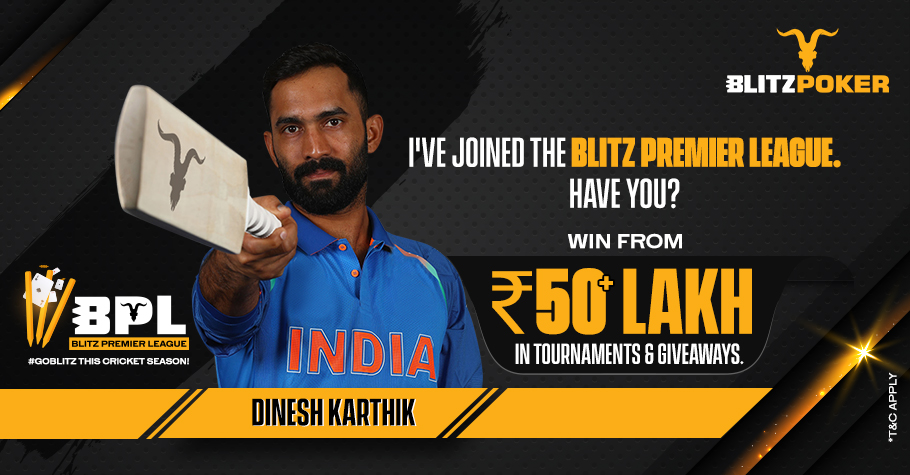 Dinesh Karthik is the face of BLITZPOKER's latest Promotion