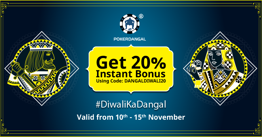 Smashing 20% Instant Bonus on PokerDangal this Diwali!