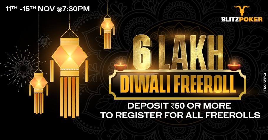 Blitz Poker's blitzy Diwali Freeroll Tournament starts soon!