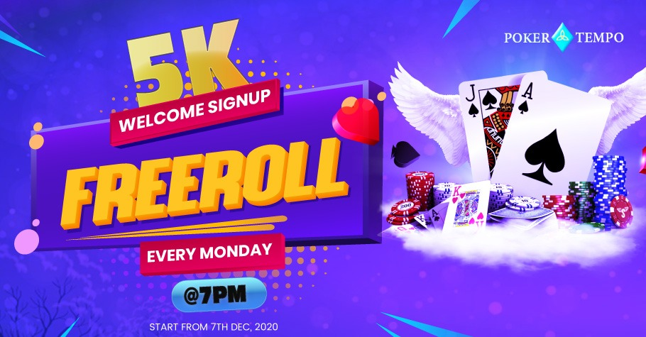Everyday @7pm PokerTempo, hosts their INR 5000 worth Freeroll starting from 7 December. What is unique about this offer is that after grinding on weekends,