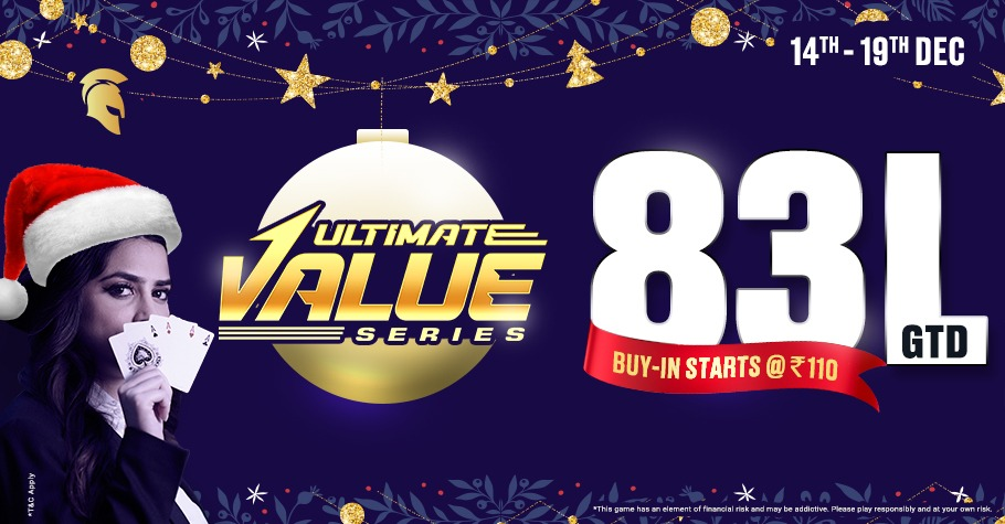 Win INR 83 Lakh GTD On Spartan Poker's Ultimate Value Series