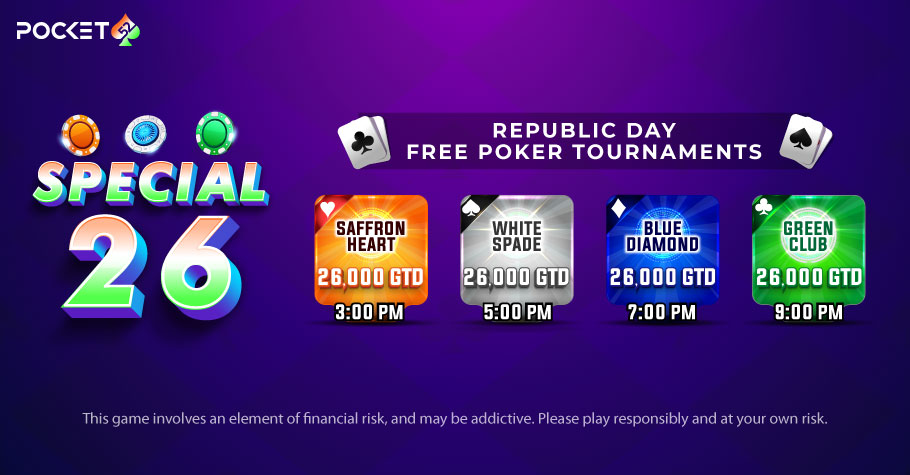 This 26 January, be a Digital Patriot with Pocket52's 'Special26' Free-to-Play 4 Online Poker Tournaments