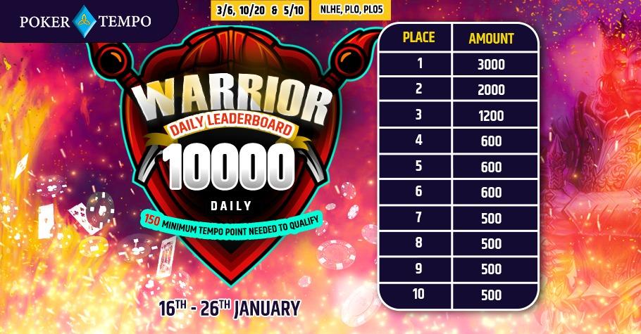Poker Tempo Warrior Leaderboard