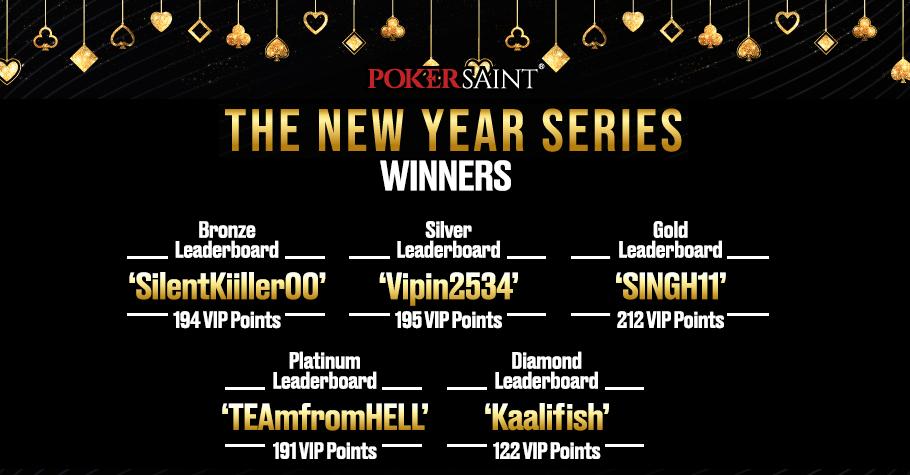 PokerSaint: Winners of the 'New Year Series'