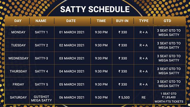 Gutshot Chosen One Satty Schedule