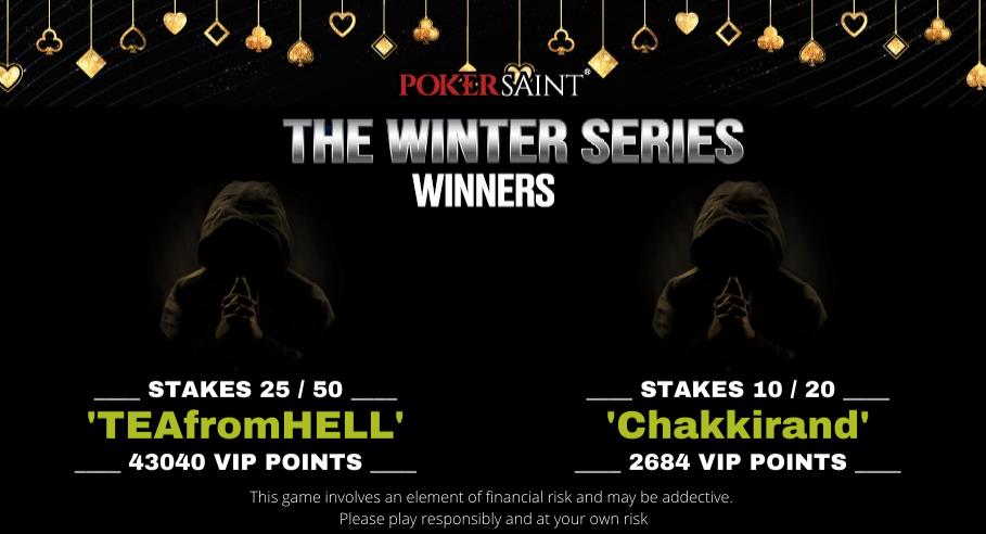 PokerSaint Winter Series Leaderboard round up
