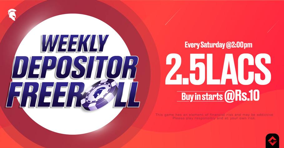 Spartan Poker's Weekly Depositor Freeroll assures INR 2.50 Lakh GTD