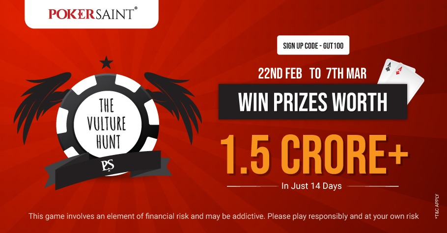 INR 1.5 Crore Worth Prizes Up For Grabs With PokerSaint's The Vulture Hunt