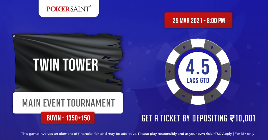A Prize Pool Of INR 4.5 Lakh Up For Grabs On PokerSaint's Twin Tower Tournament