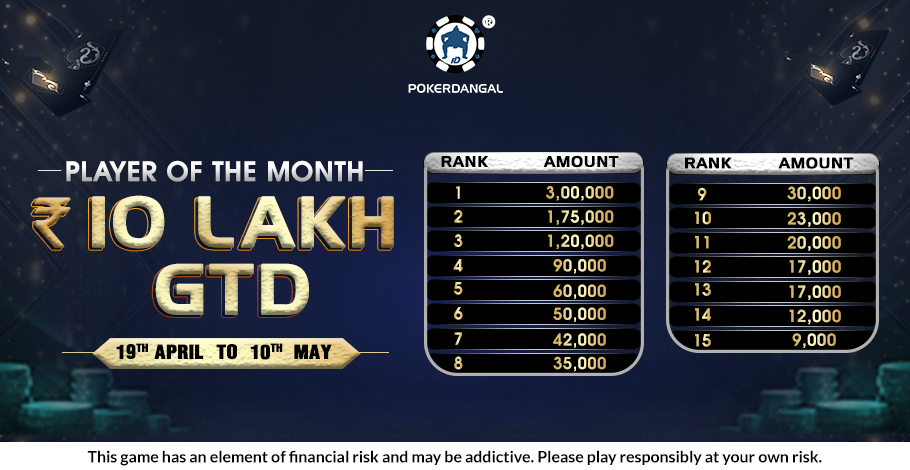PokerDangal's 'Player of the Month' Offers INR 10 Lakh In Prizes