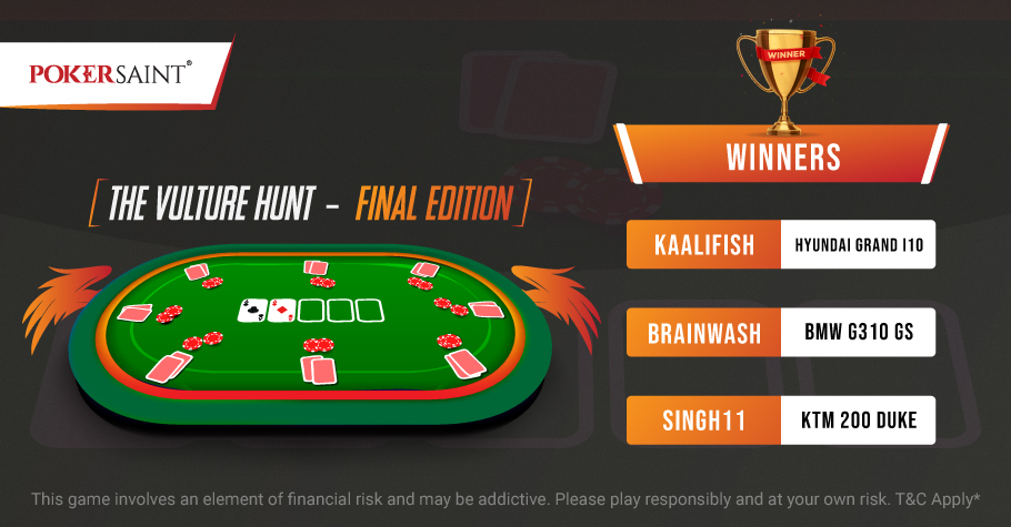 Checkout Who Bagged Top Spots On PokerSaint's Vulture Hunt - Final Edition Leaderboards