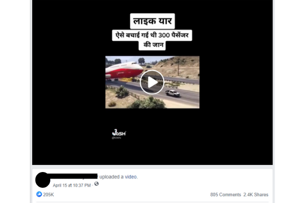 Video Of A Plane Making An Emergency Landing Turns Out To Be Fake
