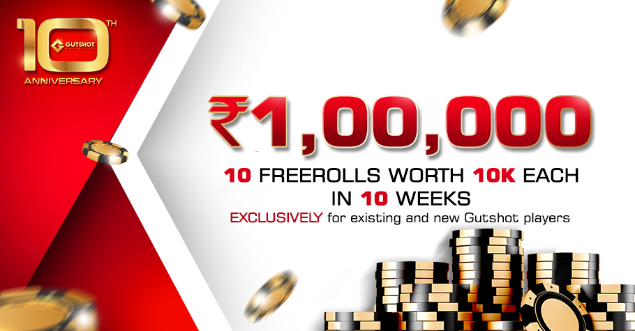 Gutshot turns 10 and presents 10 FREEROLLS just for you!