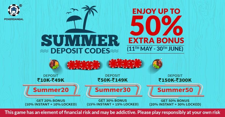 PokerDangal's Summer Deposit Codes