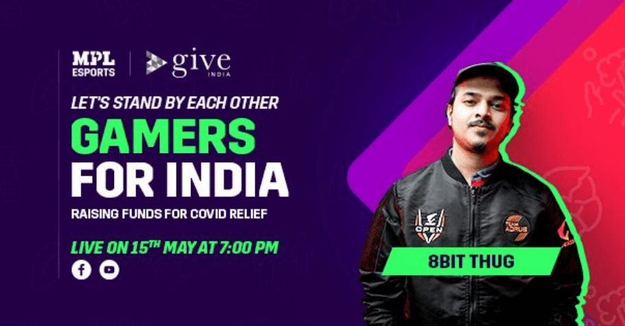 MPL Esports Partners With Give India For COVID-19 Charity Livestream