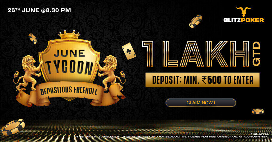 Sign Up On BLITZPOKER To Play The Depositors Freeroll Worth 1 Lakh