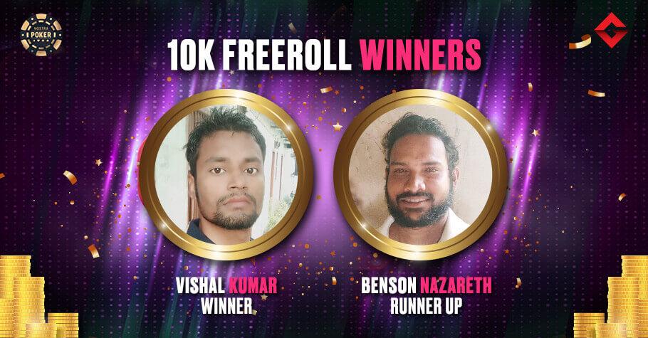 Vishal Kumar & Benson Nazareth Grab Top Spots In Gutshot's Exclusive 10K Freeroll On NostraPoker