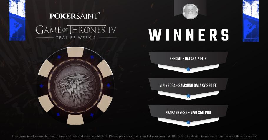 PokerSaint Game Of Thrones Week II: 'Special' & 'Prakash7639' win top prizes