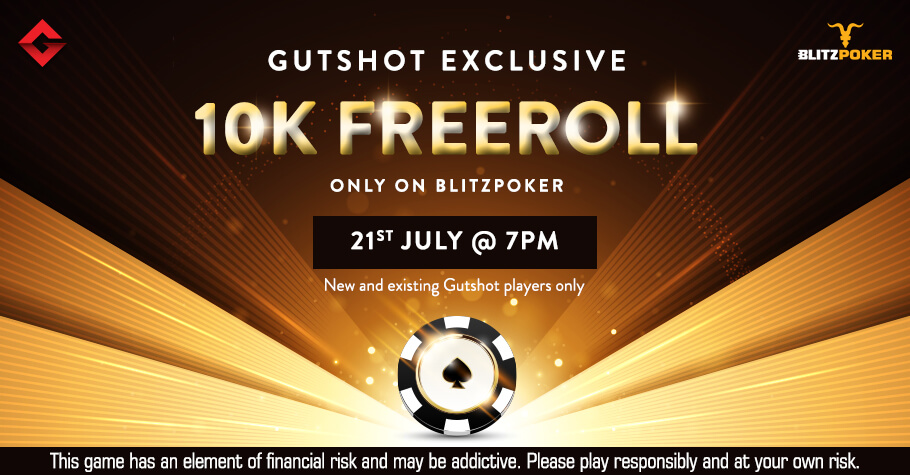 Gutshot's Exclusive 10K Freeroll On BlitzPoker Is A Treat You Can't Miss