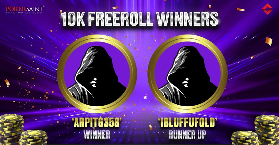 'Arpit6358' Nails Gutshot's Exclusive ₹10K Freeroll On PokerSaint