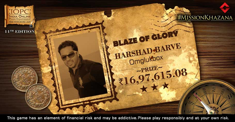 Harshad Barve Wins 16.9 Lakh As IOPC's Blaze Of Glory Tournament Ends In A Deal
