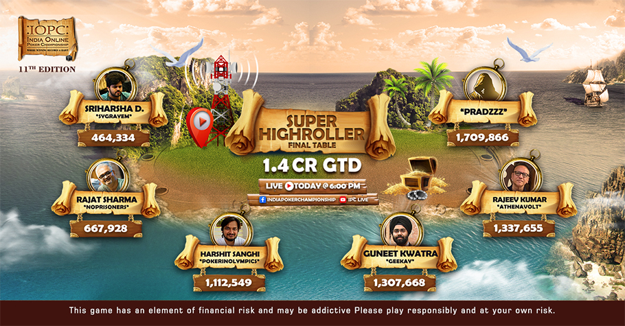 IOPC Super Highroller FT: War Is On With Doddapaneni & Sanghi Fighting For The Top Spot