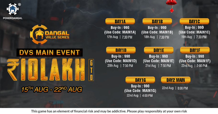 Fight For Your Spot In PokerDangal's DVS Main Event 10 Lakh GTD