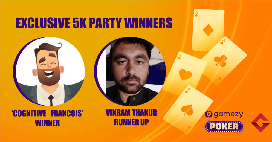 GamezyXGutshot Exclusive 5K Party: Mystery player 'cognitive_francois_8860454' Wins ₹1,700