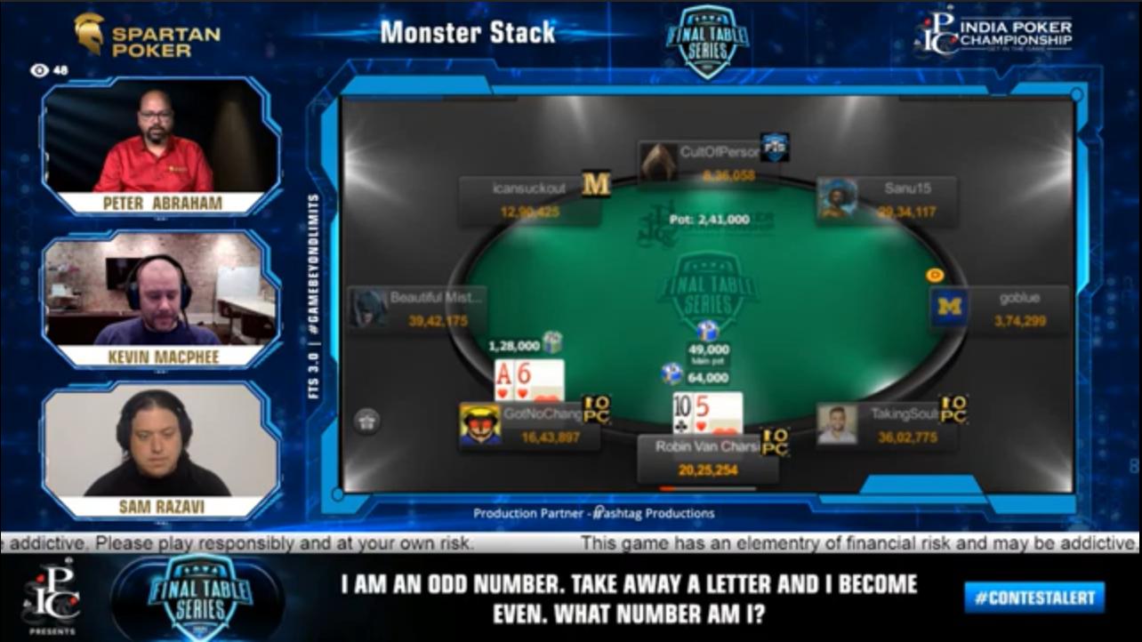 FTS 3.0 – Monster Stack – 60 Lakh GTD Final Table Livestream