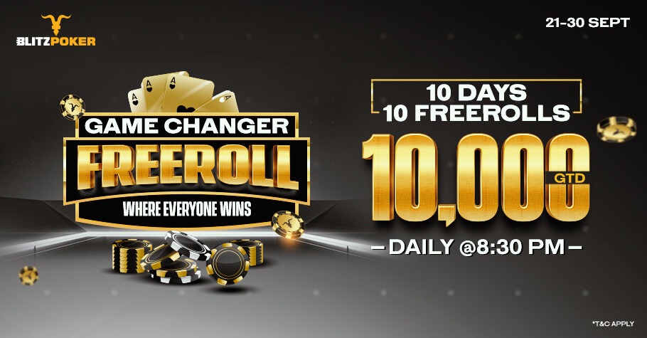 BLITZPOKER'S Game Changer Promotion Offers 10 Freerolls Worth 1 Lakh