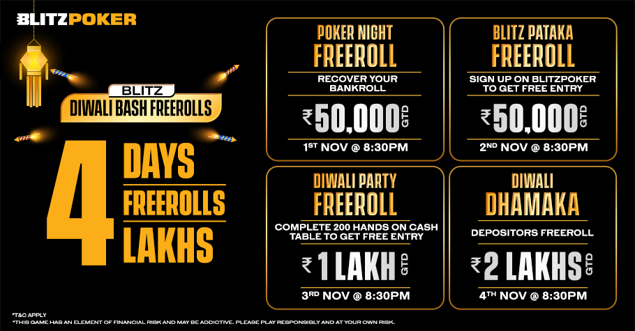 Party Hard With Four BLITZPOKER Freerolls Worth 4 Lakhs