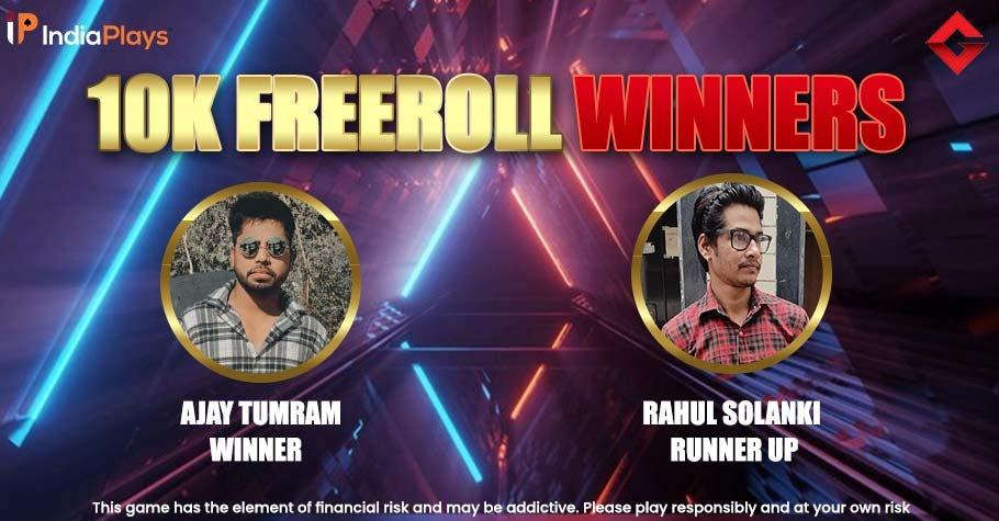 The Gutshot Exclusive 10K Freeroll On IndiaPlays Has Winners!